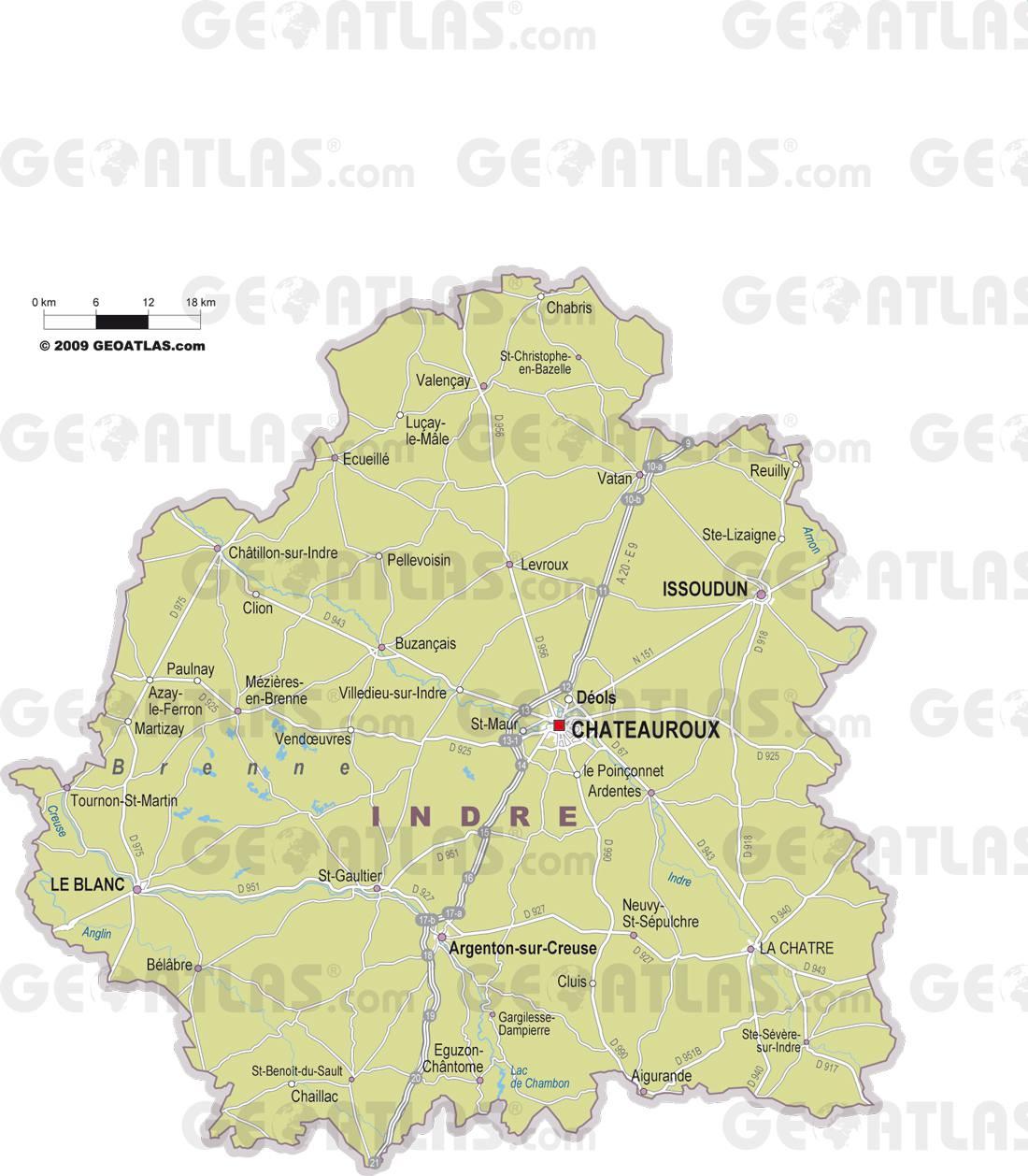 Carte des villes de l'Indre