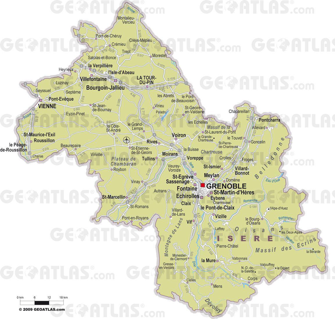 Carte des villes de l'Isère