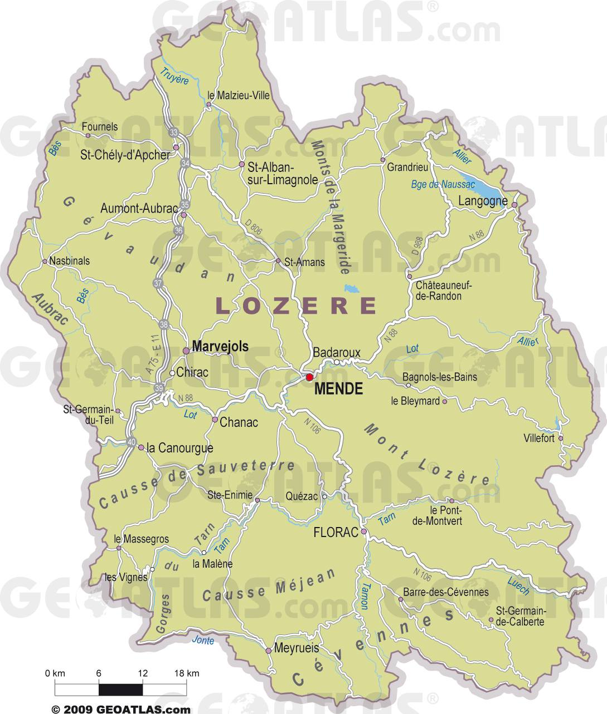 Carte des villes de Lozère