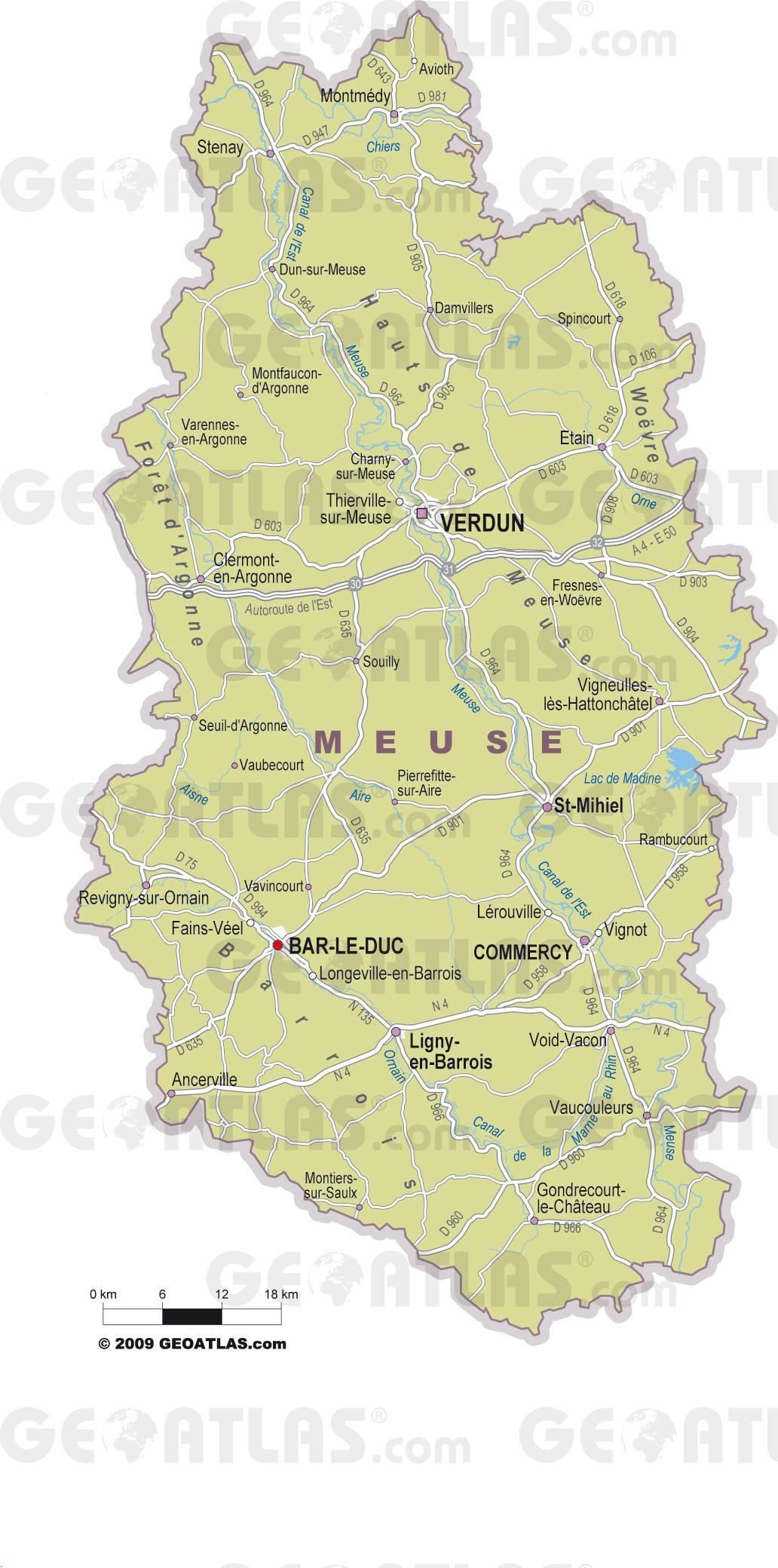 Carte des villes de la Meuse