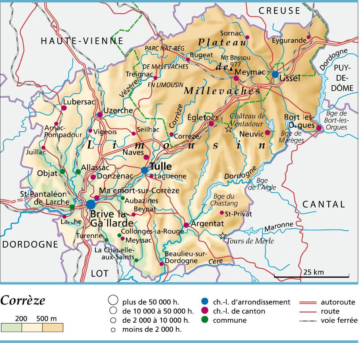Carte de la corr ze corr ze carte du d partement 19 villes tourisme - Office de tourisme collonges la rouge ...