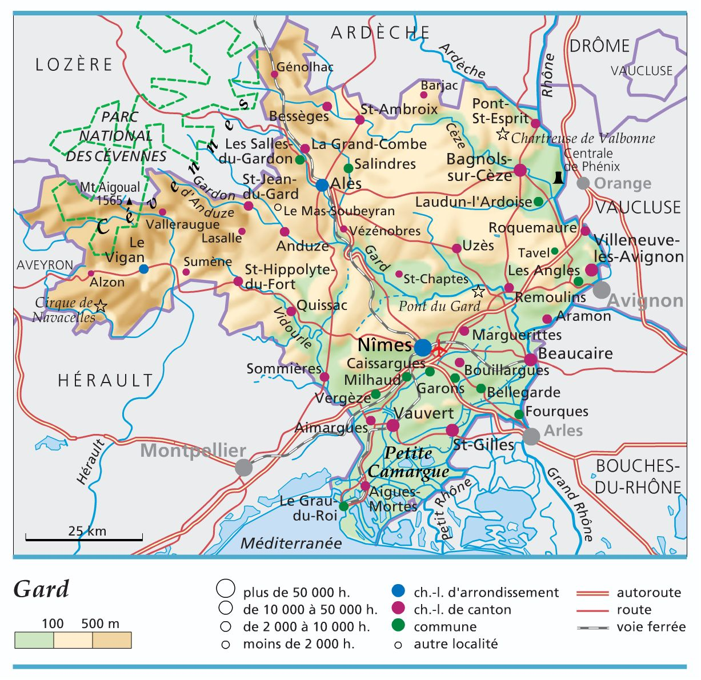 Carte du Gard   Gard carte des villes, communes, sites touristiques