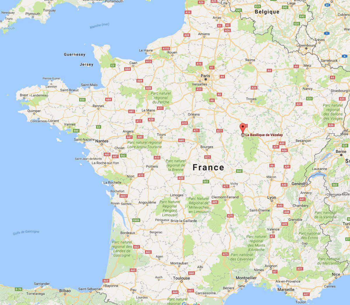 Où se trouve la Basilique de Vézelay en France ?