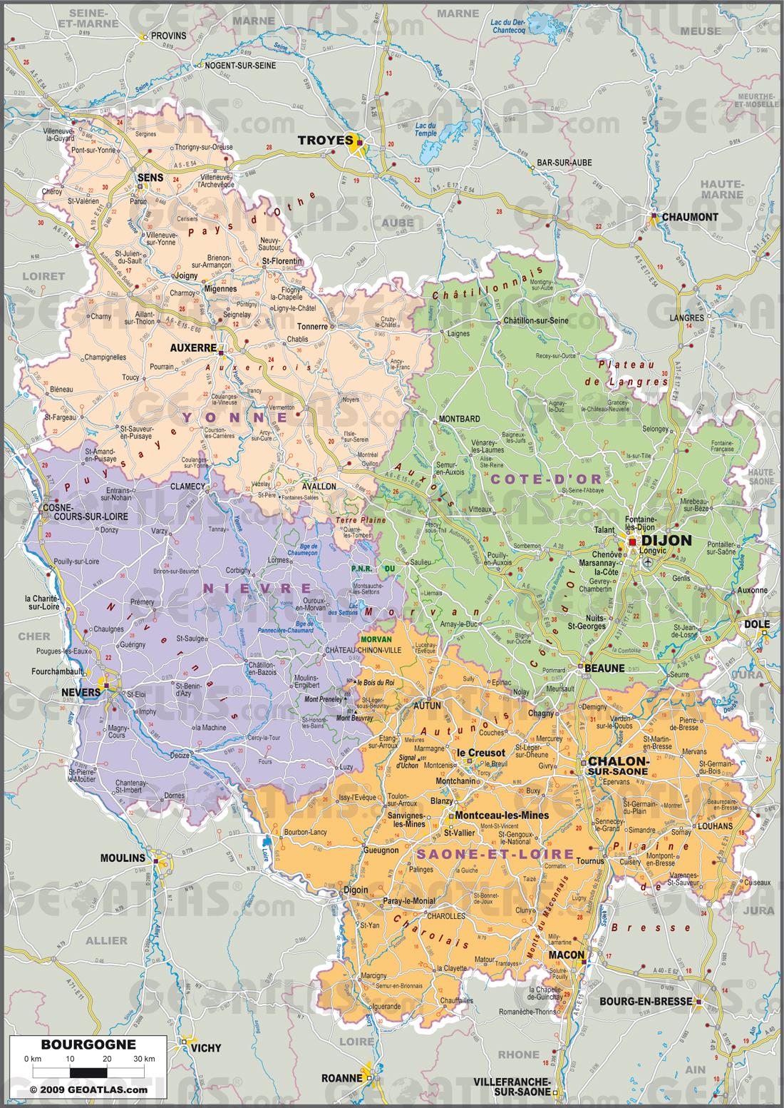 Carte Bourgogne Michelin.Carte De La Bourgogne Decouvrir La Region Avec Des Cartes