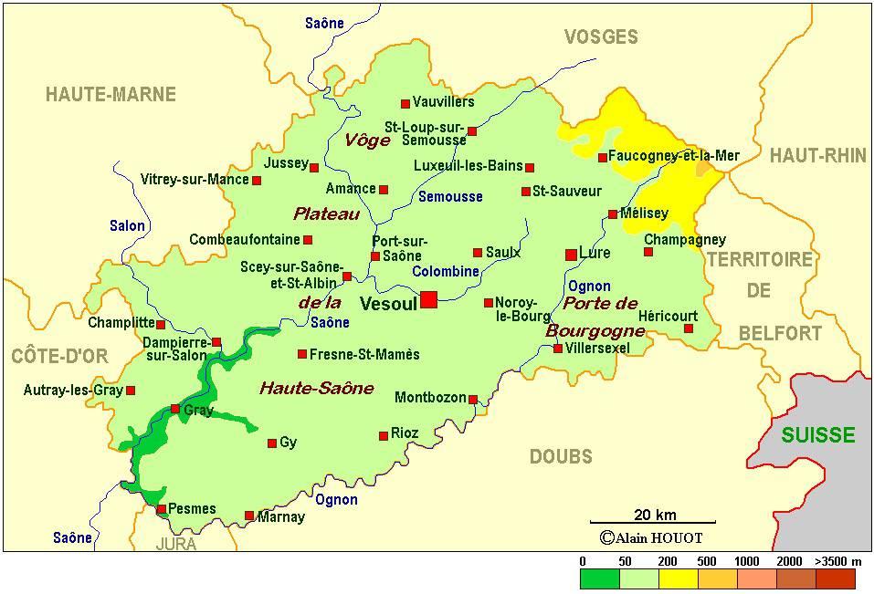 Carte administrative de la Haute-Saône