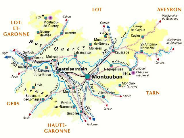 Carte administrative du Tarn-et-Garonne
