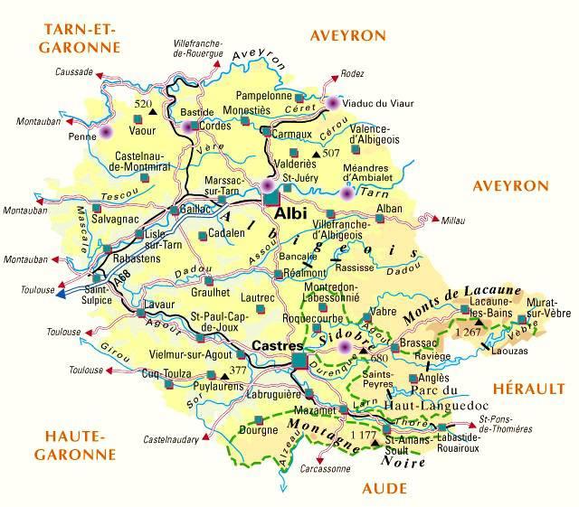Carte administrative du Tarn