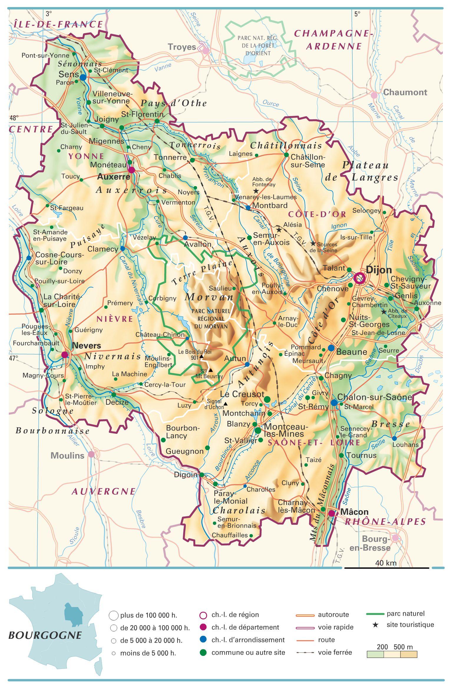 Carte de la Bourgogne   Découvrir la région avec des cartes