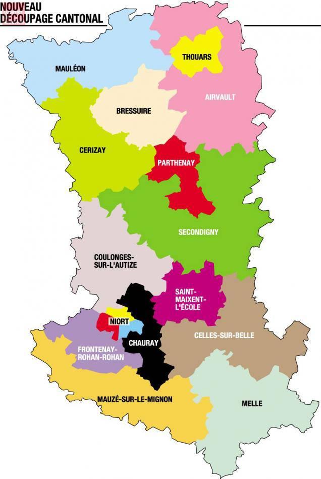 Carte des cantons des Deux-Sèvres