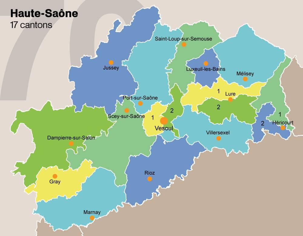 Carte des cantons de la Haute-Saône