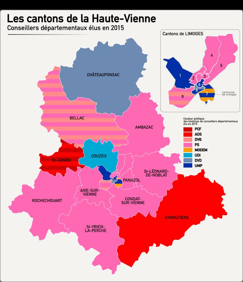 Carte des cantons de la Haute-Vienne