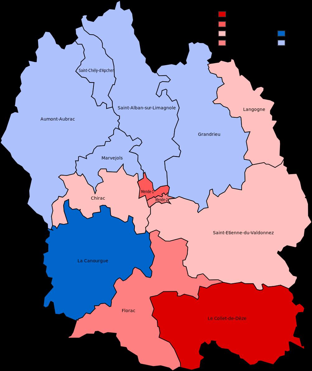 Carte des cantons de la Lozère