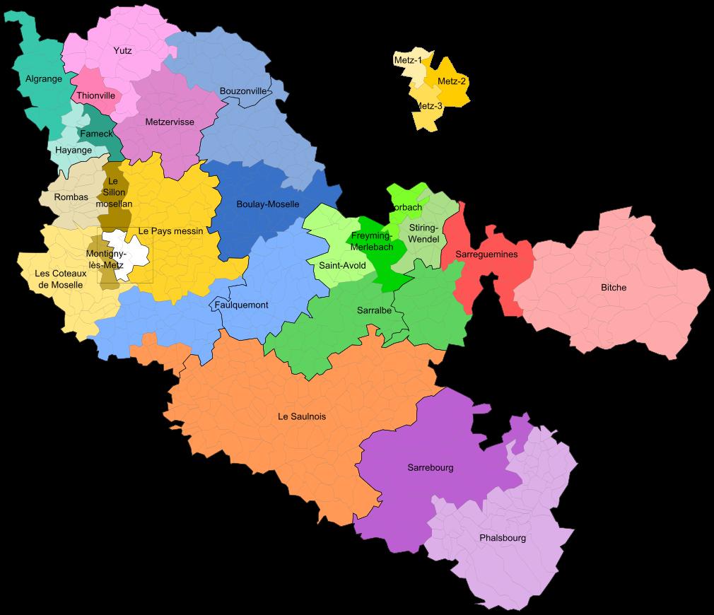 Carte des cantons de la Moselle