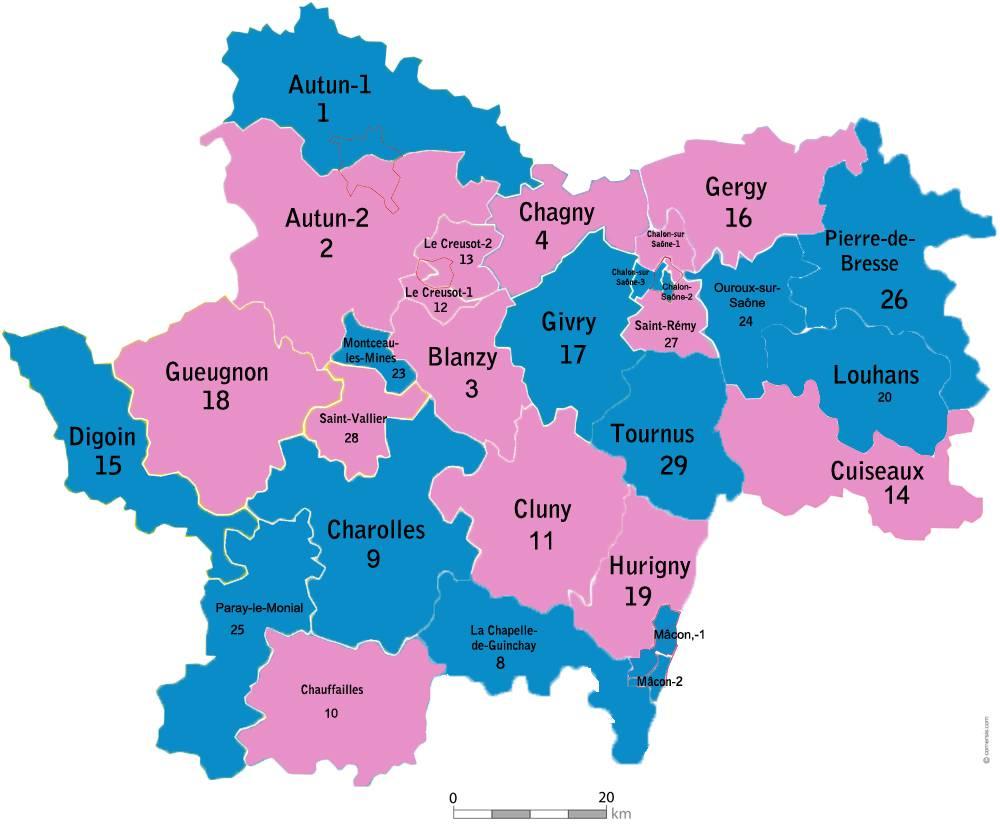 Carte des cantons de la Saône-et-Loire