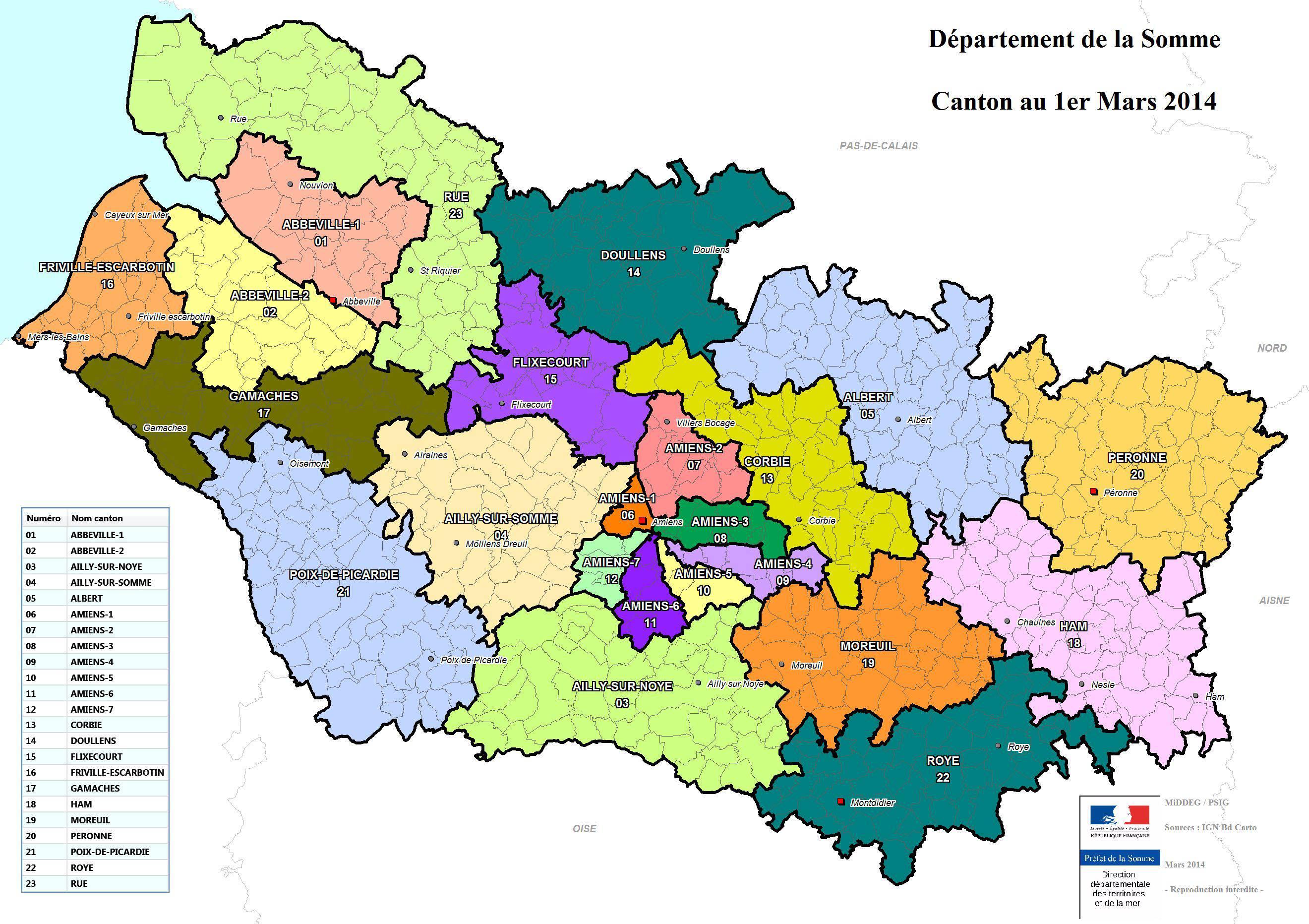 Carte des cantons de la Somme
