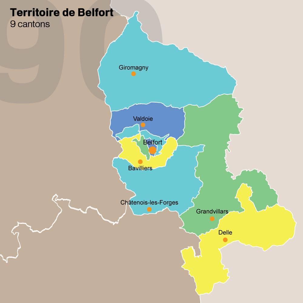Carte des cantons du Territoire de Belfort