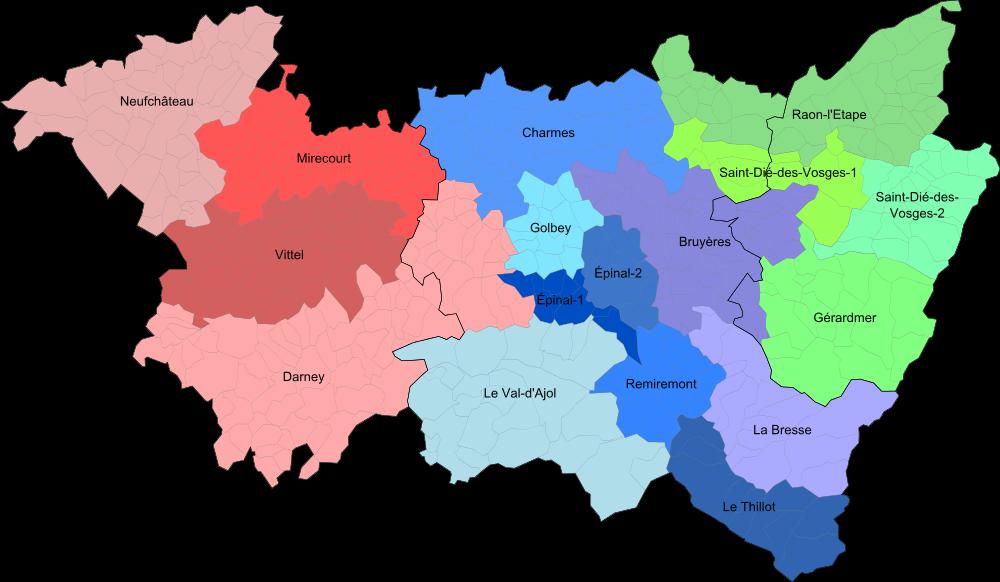 Carte des cantons des Vosges