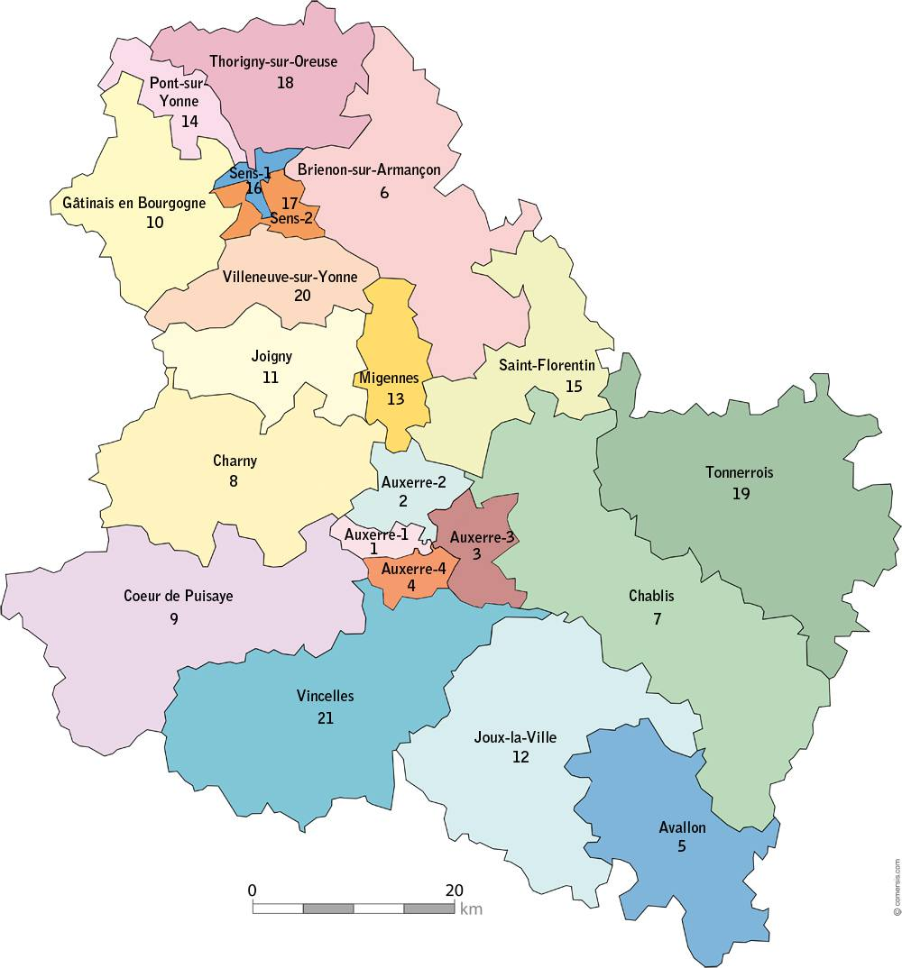 Carte des cantons de l'Yonne