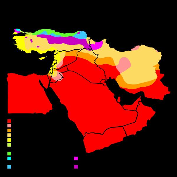 Carte du climat au Moyen-Orient