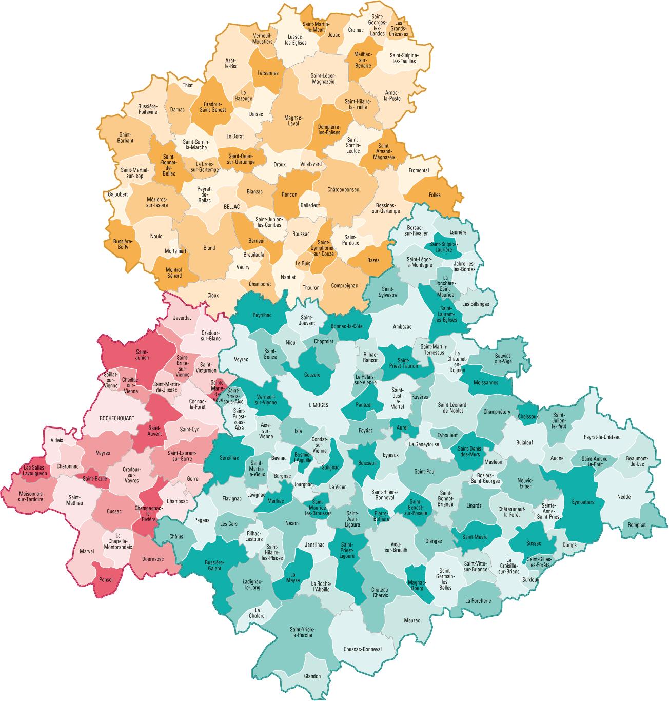 Carte des communes de la Haute-Vienne