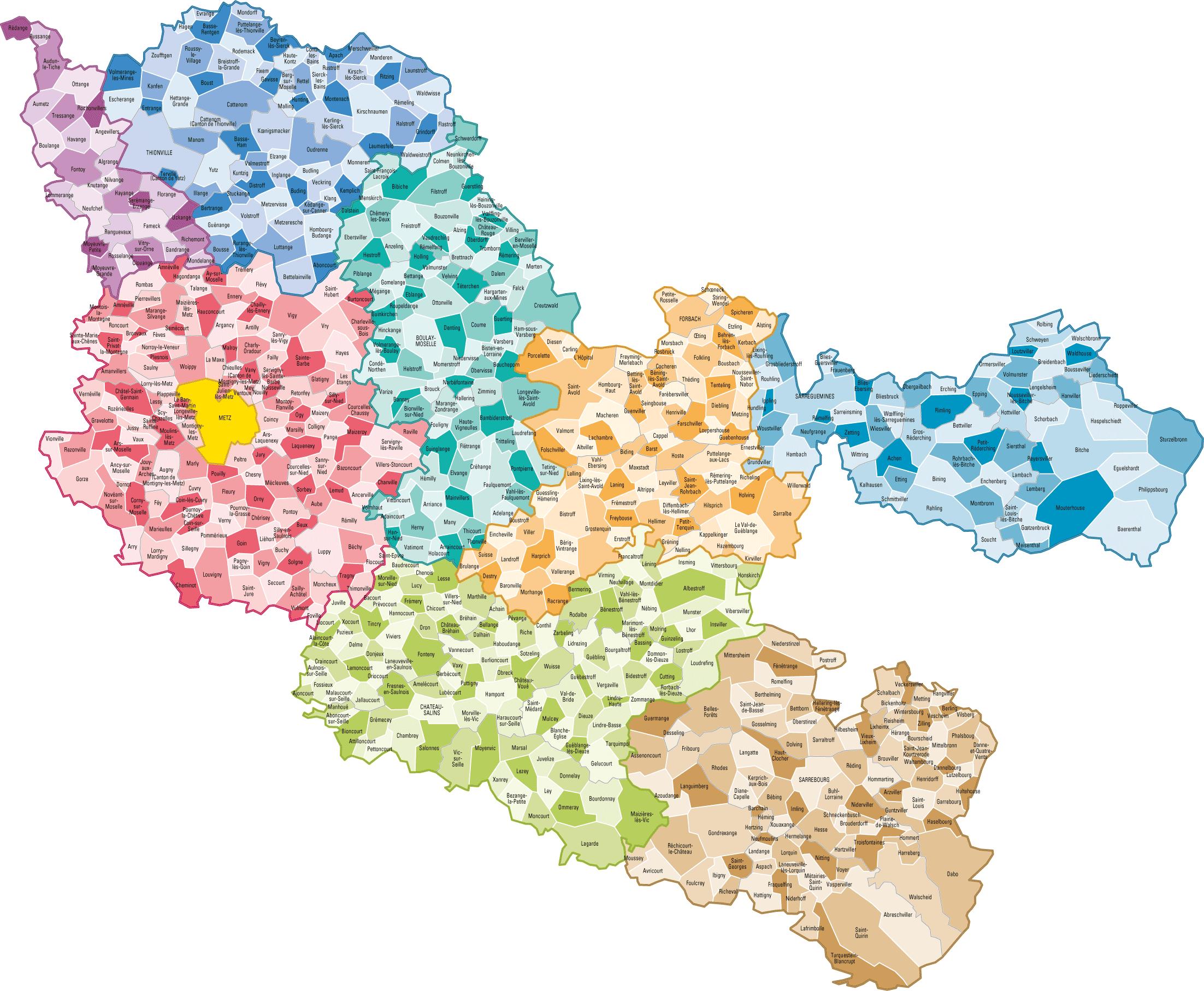 Carte des communes de la Moselle