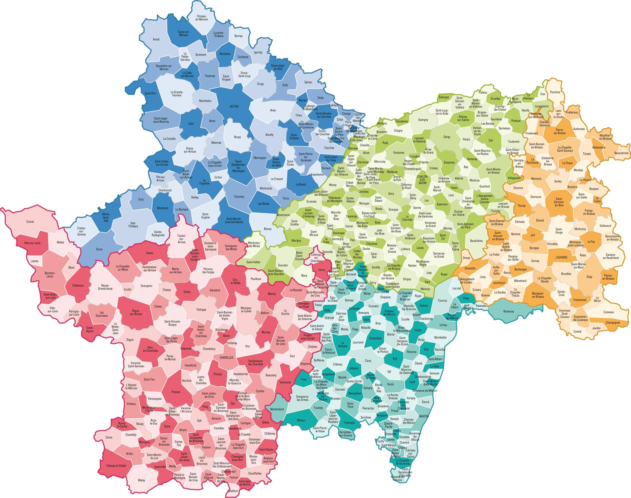 Carte des communes de la Saône-et-Loire