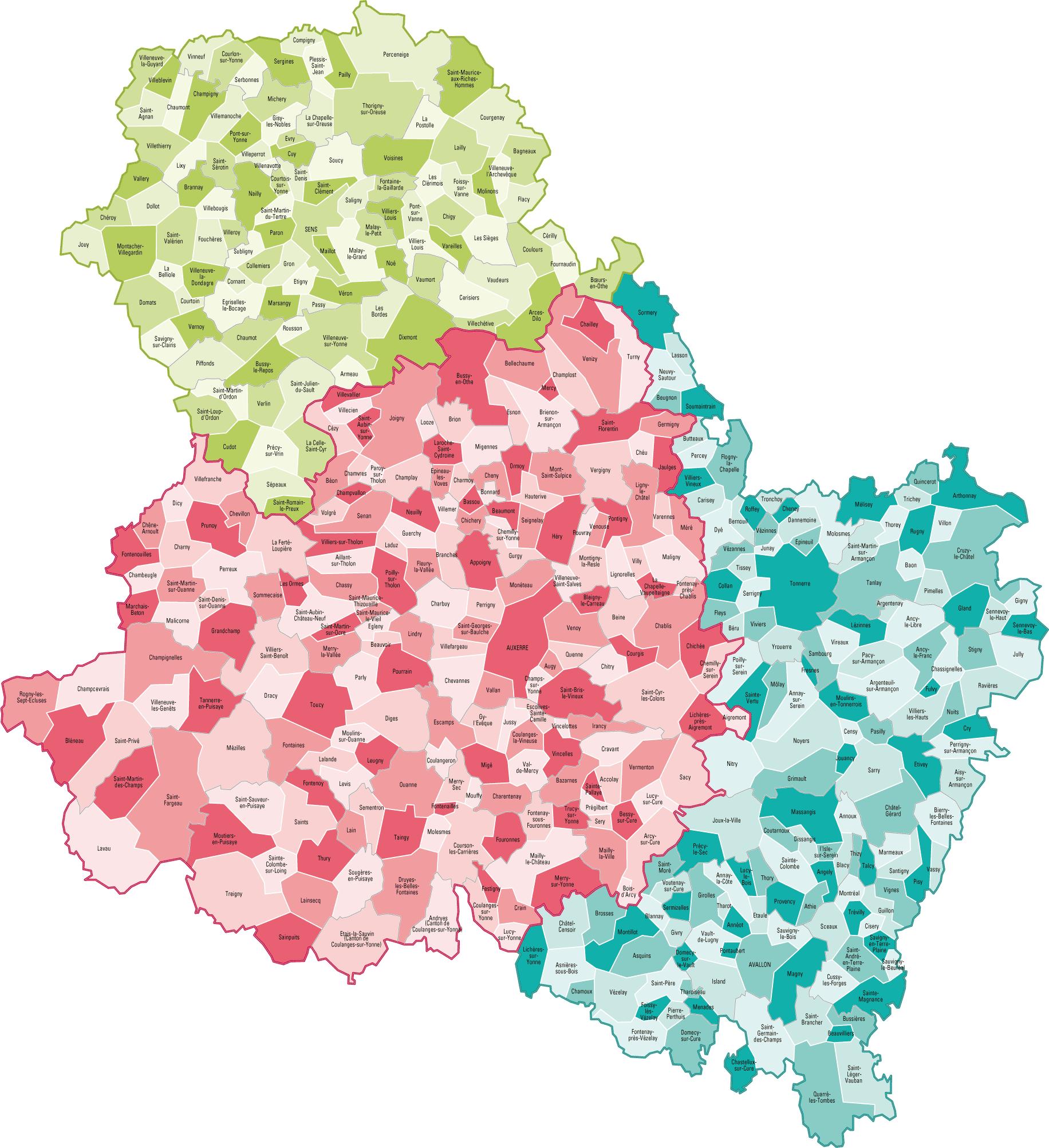 Carte des communes de l'Yonne