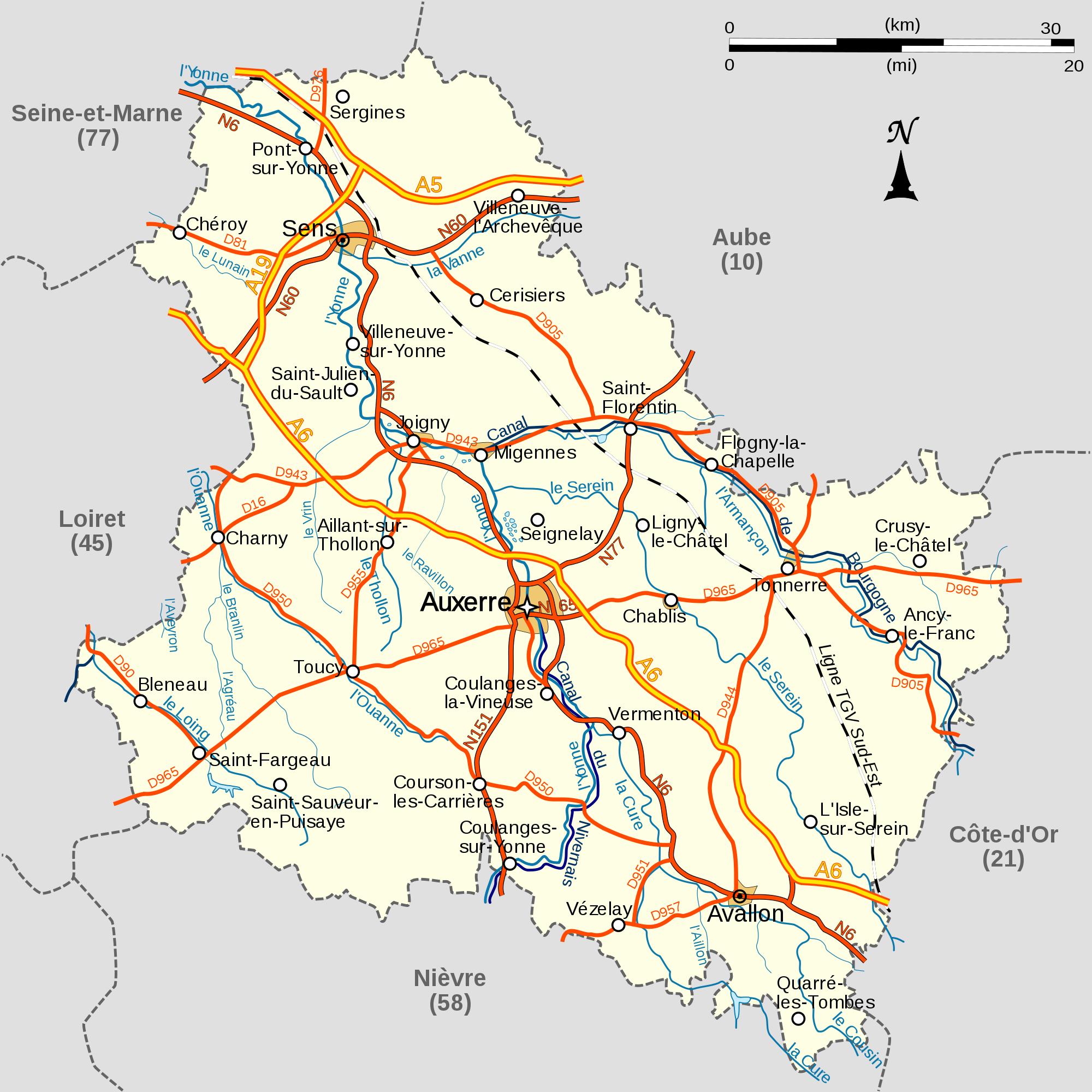 Carte détaillée de l'Yonne