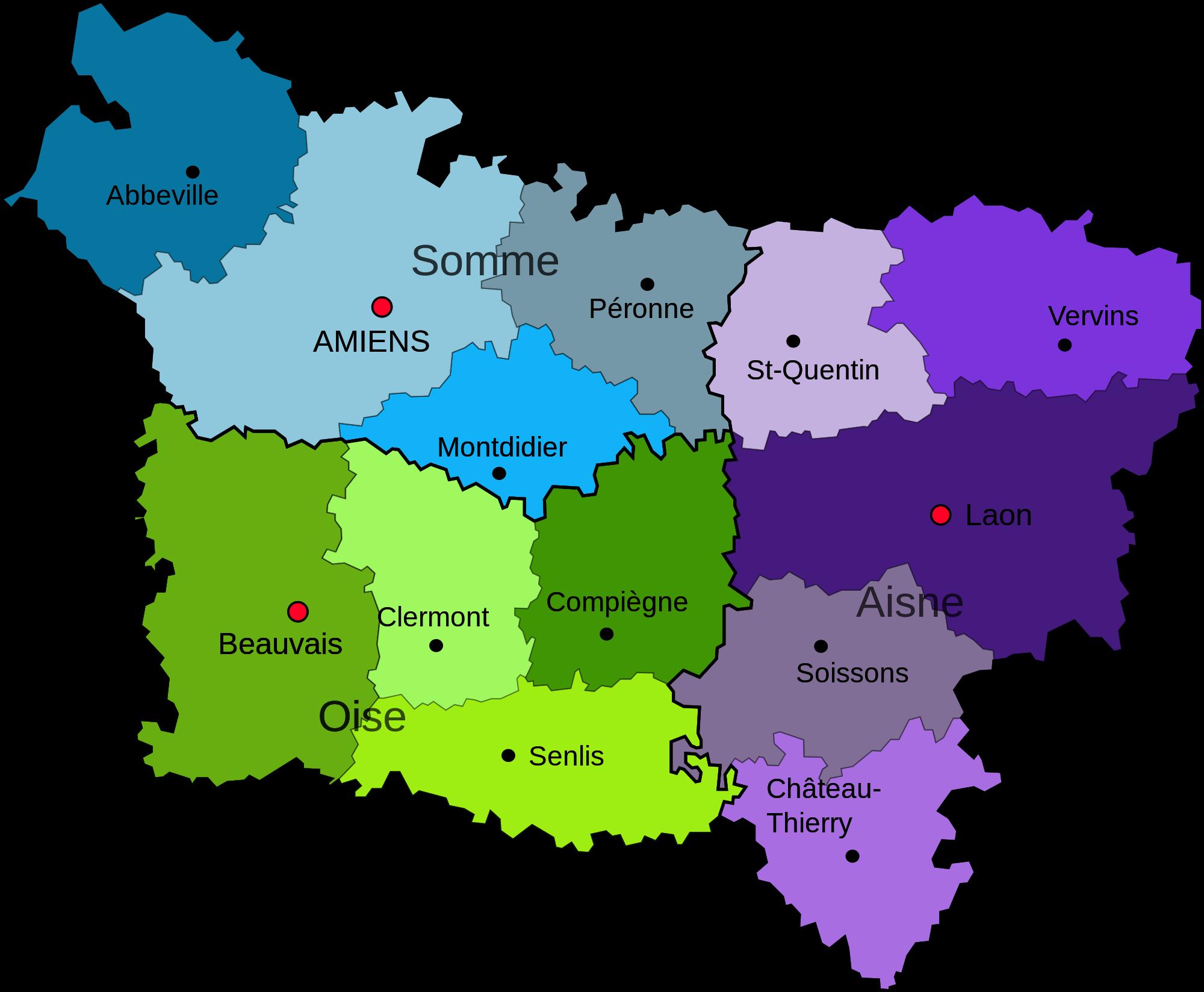Carte de la division de la Picardie