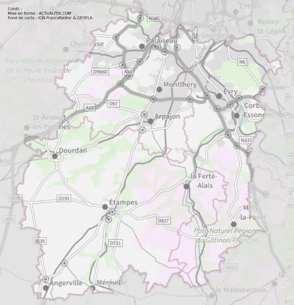 Carte de l'Essonne