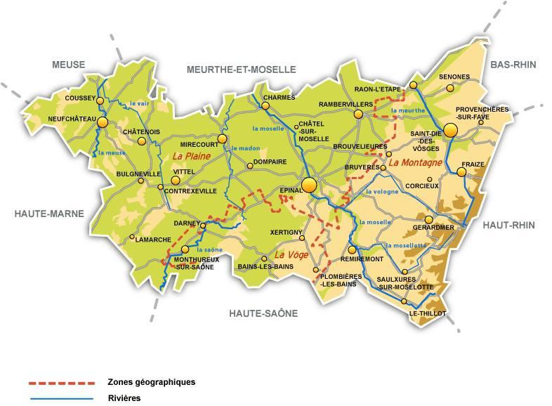 Carte des grandes villes des Vosges
