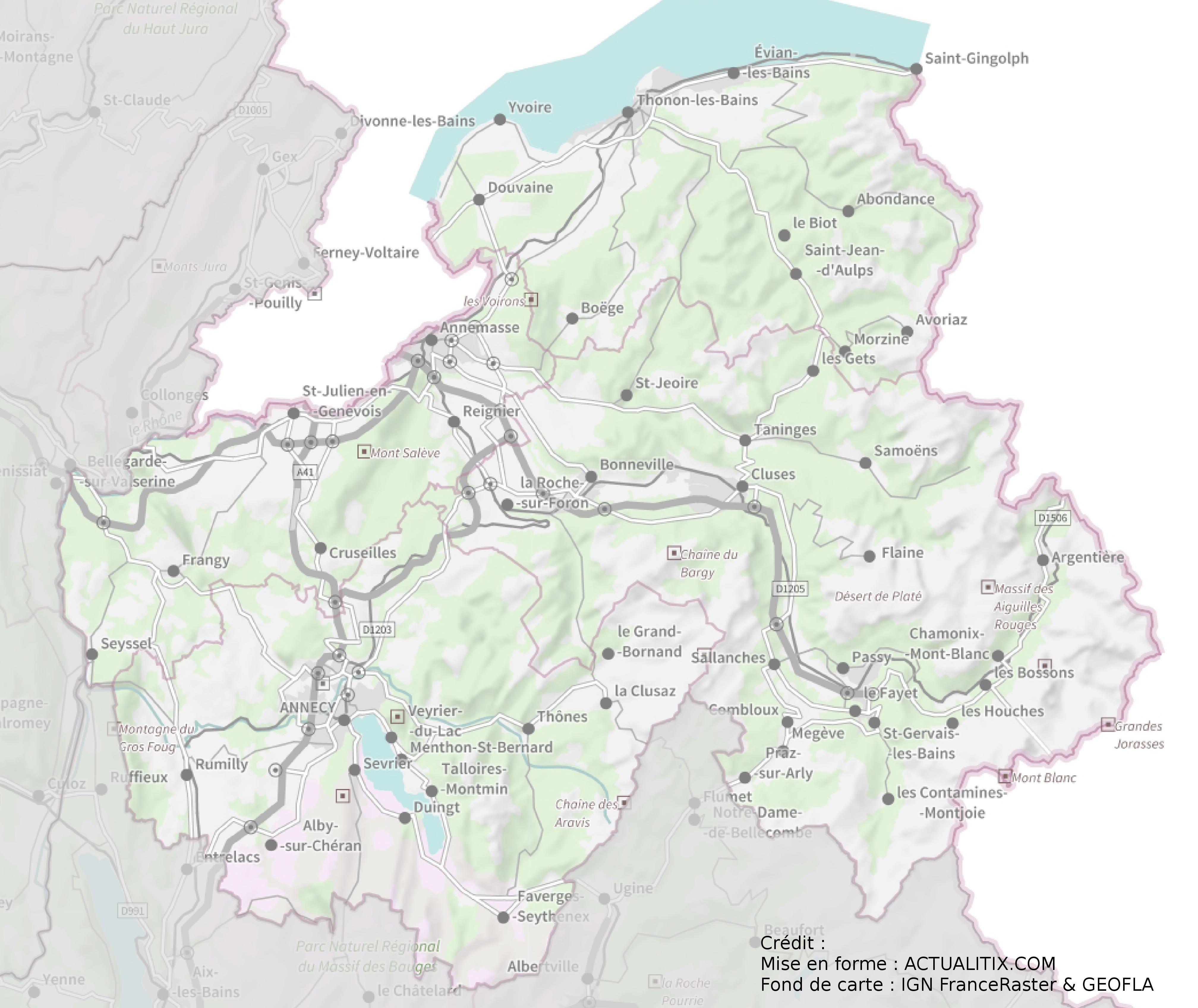 carte haute savoie avec communes Carte de la Haute Savoie   Haute Savoie carte des villes, relief