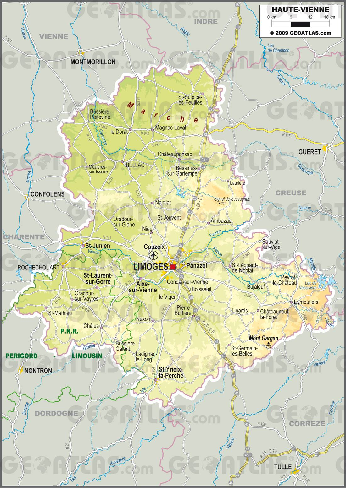 Carte de la Haute-Vienne