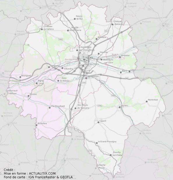Carte de l'Indre-et-Loire