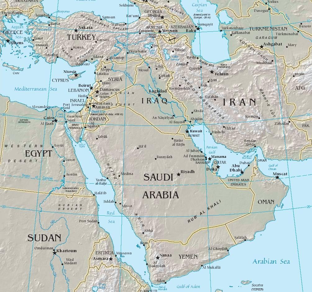 Carte du Moyen-Orient - Politique