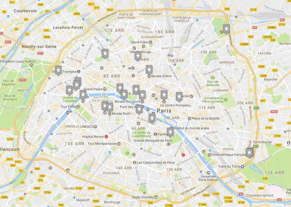 Carte des musées à Paris les plus visités