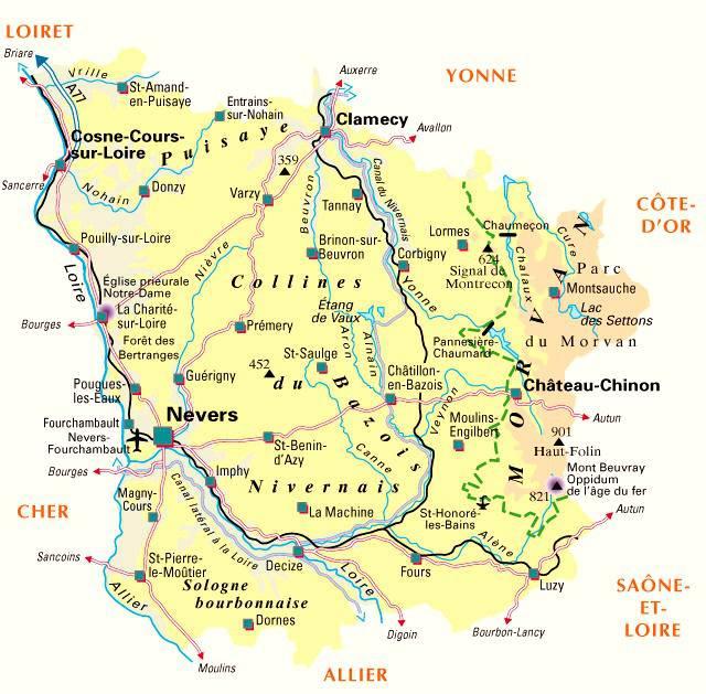 Carte de la Nièvre - Politique