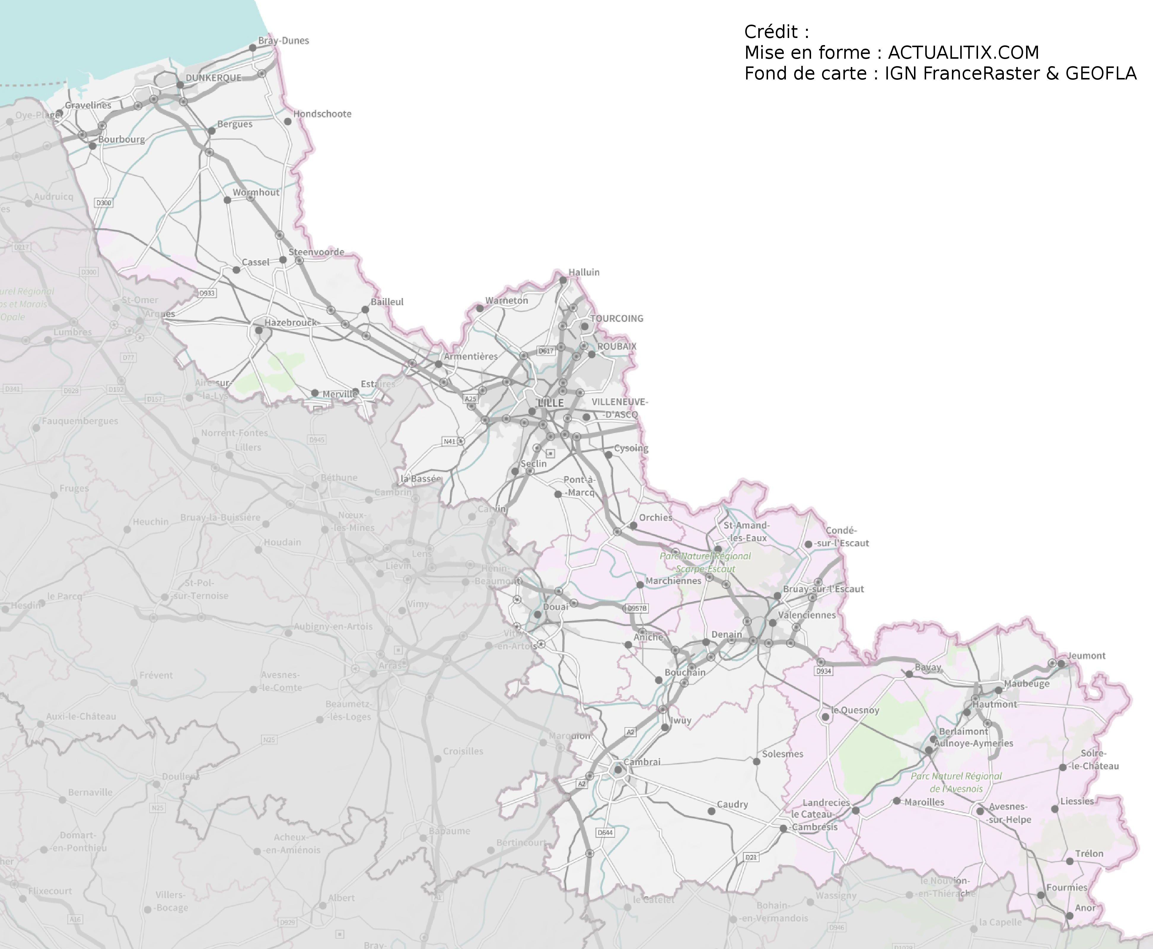 saignac dans le nord carte Carte du Nord   Nord carte du département 59   villes, sites
