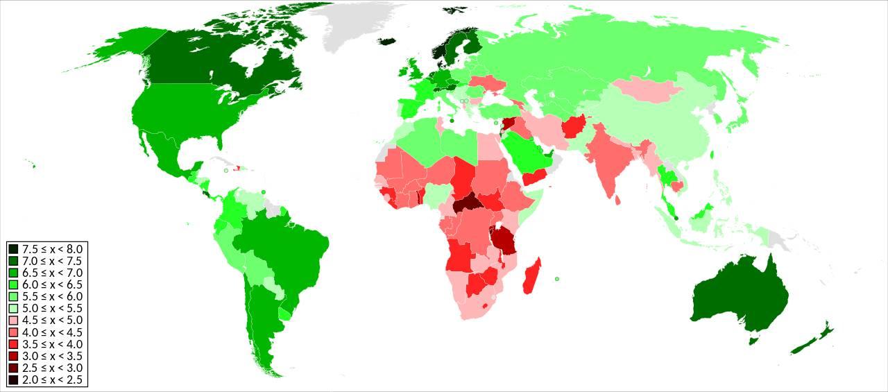 Carte des pays les plus heureux du monde