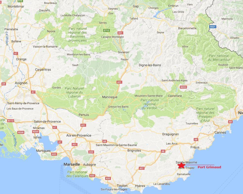 Carte de l'emplacement de Port Grimaud