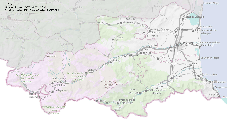 Carte des Pyrénées-Orientales - Pyrénées-Orientales carte du département 66