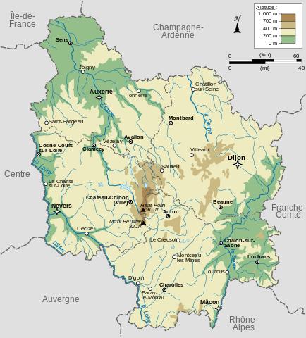 Carte du relief de la Bourgogne