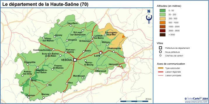 Carte du relief de la Haute-Saône