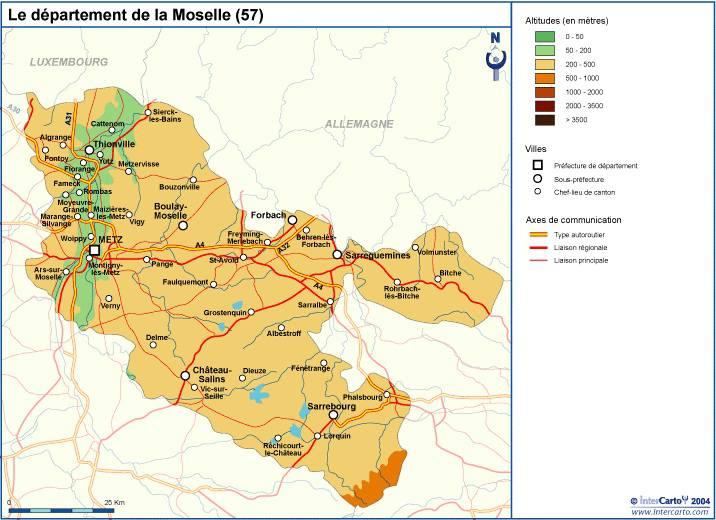Carte du relief de la Moselle