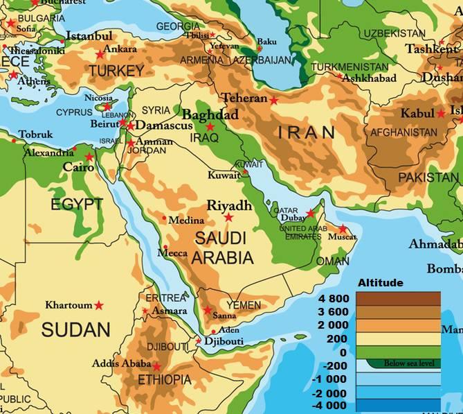 Carte du Moyen-Orient - Relief
