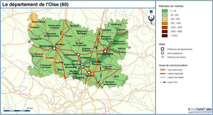 Carte du relief de l'Oise
