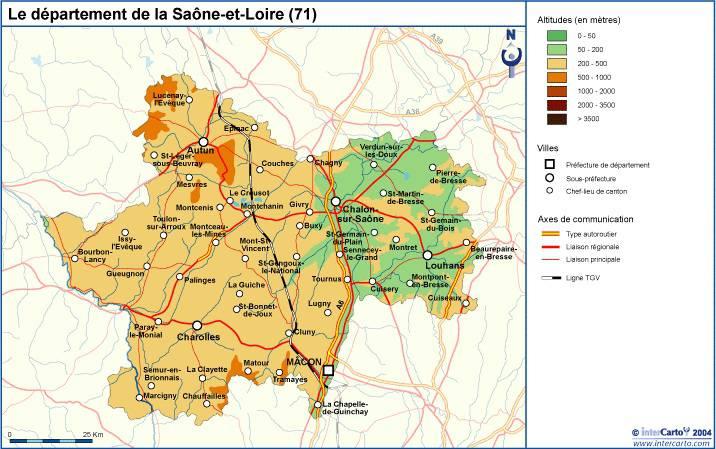 Carte du relief de la Saône-et-Loire