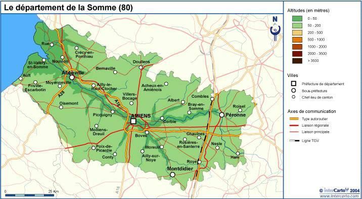 Carte du relief de la Somme
