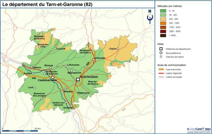 Carte du relief du Tarn-et-Garonne