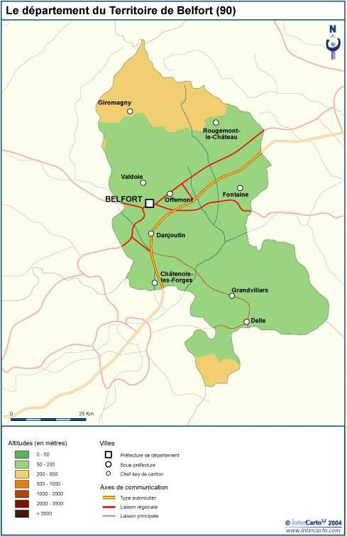 Carte du relief du Territoire de Belfort